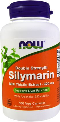 Silymarin, Milk Thistle Extract with Artichoke & Dandelion, Double Strength, 300 mg, 100 Veg Capsules by Now Foods, 健康,排毒,奶薊(水飛薊素),藥物濫用,成癮 HK 香港