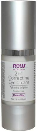 Solutions, 2 in 1 Correcting Eye Cream, 1 fl oz (30 ml) by Now Foods, 美容,眼霜,面部護理,美白面部護理 HK 香港