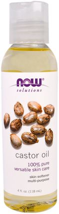 Solutions, Castor Oil, 4 fl oz (118 ml) by Now Foods, 健康,皮膚,蓖麻油,現在食用油 HK 香港