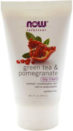 Solutions, Day Cream, Green Tea & Pomegranate, 2 fl oz (59 ml) by Now Foods, 美容,面部護理,面霜,乳液,coq10皮膚 HK 香港