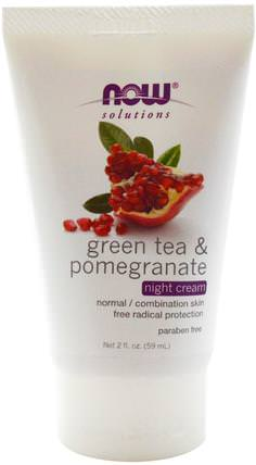 Solutions, Night Cream, Green Tea & Pomegranate, 2 fl oz (59 ml) by Now Foods, 美容,抗衰老,面部護理 HK 香港