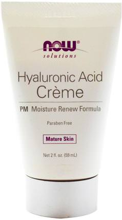 Solutions, Hyaluronic Acid Creme, PM Moisture Renew Formula, 2 fl oz (59 ml) by Now Foods, 美容,面部護理,面霜,乳液,抗衰老,透明質酸 HK 香港