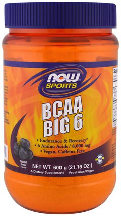 Sports, BCAA Big 6, Natural Grape Flavor, 21.16 oz (600 g) by Now Foods, 補充劑,氨基酸,bcaa(支鏈氨基酸) HK 香港