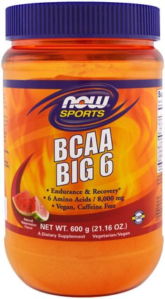 Sports, BCAA Big 6, Natural Watermelon Flavor, 21.16 oz (600 g) by Now Foods, 運動,補品,bcaa(支鏈氨基酸) HK 香港