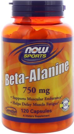 Sports, Beta-Alanine, 750 mg, 120 Capsules by Now Foods, 補充劑,合成代謝補品,β丙氨酸 HK 香港