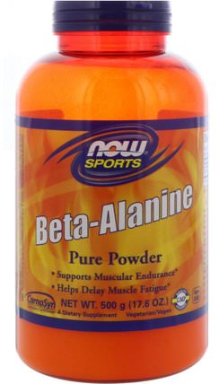 Sports, Beta-Alanine, Pure Powder, 17.6 oz (500 g) by Now Foods, 補充劑,合成代謝補品,β丙氨酸 HK 香港