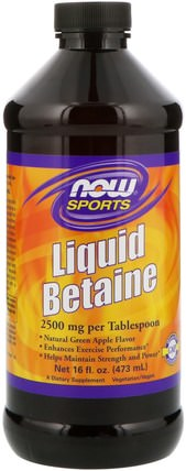 Sports, Liquid Betaine, Green Apple, 16 fl oz (473 ml) by Now Foods, 補充劑,甜菜鹼hcl HK 香港