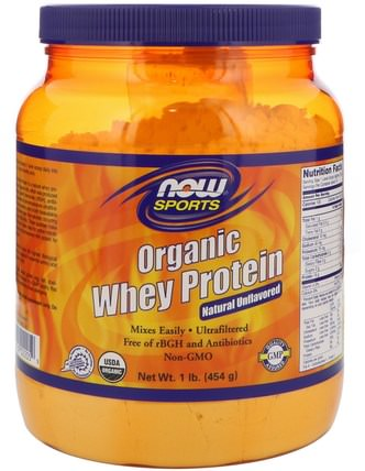 Sports, Organic Whey Protein, Natural Unflavored, 1 lb (454 g) by Now Foods, 補充劑,乳清蛋白,乳清蛋白未變性 HK 香港