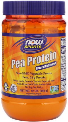 Sports, Pea Protein, Natural Unflavored, 12 oz (340 g) by Now Foods, 補充劑,蛋白質,豌豆蛋白質 HK 香港