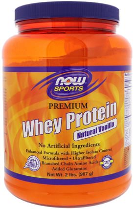 Sports, Premium Whey Protein, Natural Vanilla, 2 lbs (907 g) by Now Foods, 補充劑,乳清蛋白,氨基酸,絲氨酸 HK 香港
