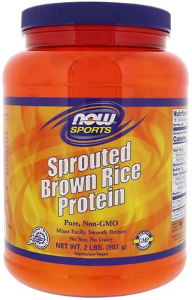 Sports, Sprouted Brown Rice Protein, Unflavored, 2 lbs (907 g) by Now Foods, 補充劑,蛋白質,大米蛋白粉 HK 香港
