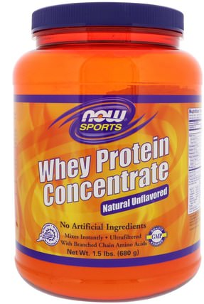 Sports, Whey Protein Concentrate, Natural Unflavored, 1.5 lbs (680 g) by Now Foods, 補充劑,乳清蛋白 HK 香港