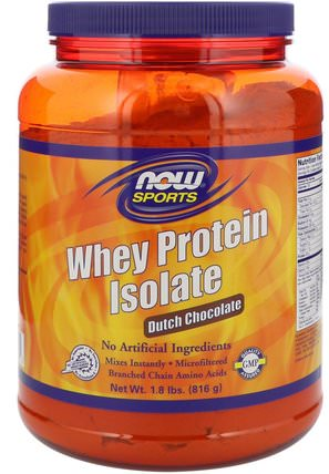 Sports, Whey Protein Isolate, Dutch Chocolate, 1.8 lbs (816 g) by Now Foods, 補充劑,乳清蛋白 HK 香港