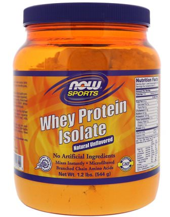 Sports, Whey Protein Isolate, Natural Unflavored, 1.2 lbs (544 g) by Now Foods, 補充劑,氨基酸,bcaa(支鏈氨基酸),乳清蛋白 HK 香港