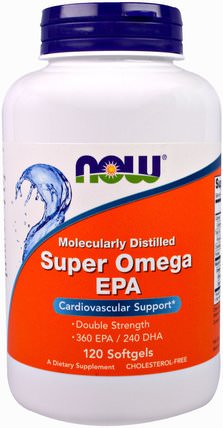 Super Omega EPA, Molecularly Distilled, 120 Softgels by Now Foods, 補充劑,efa omega 3 6 9(epa dha),epa HK 香港