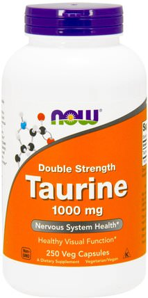 Taurine, Double Strength, 1.000 mg, 250 Veg Capsules by Now Foods, 補充劑,氨基酸,牛磺酸 HK 香港