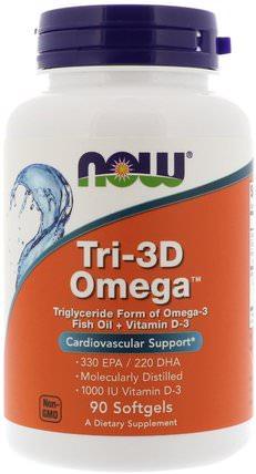 Tri-3D Omega, 330 EPA/220 DHA, 90 Softgels by Now Foods, 補充劑,efa omega 3 6 9(epa dha),魚油,魚油軟膠囊,維生素,維生素d3 HK 香港
