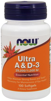 Ultra A & D-3, 25.000/1.000 IU, 100 Softgels by Now Foods, 維生素,維生素a和d HK 香港