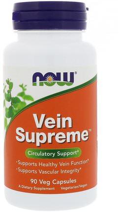 Vein Supreme, 90 Veg Capsules by Now Foods, 健康,婦女,靜脈曲張護理,草藥,屠夫掃帚 HK 香港