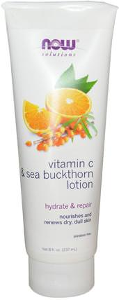 Vitamin C & Sea Buckthorn Lotion, 8 fl oz (237 ml) by Now Foods, 沐浴,美容,潤膚露,透明質酸皮膚 HK 香港