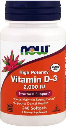 Vitamin D-3, 2.000 IU, 240 Softgels by Now Foods, 維生素,維生素D3 HK 香港