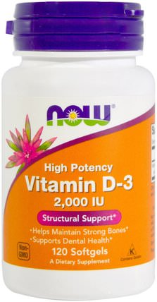 Vitamin D-3, 2.000 IU, 120 Softgels by Now Foods, 維生素,維生素D3,維生素a和d HK 香港