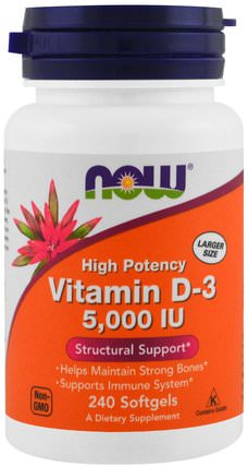 Vitamin D-3, 5.000 IU, 240 Softgels by Now Foods, 維生素,維生素D3 HK 香港