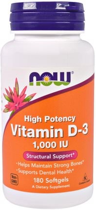 Vitamin D-3, 1.000 IU, 180 Softgels by Now Foods, 維生素,維生素D3 HK 香港