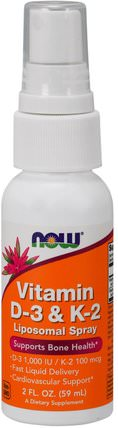 Vitamin D-3 & K-2, Liposomal Spray, D-3 1.000 IU / K-2 100 mcg, 2 fl oz (59 ml) by Now Foods, 維生素,維生素D3 HK 香港