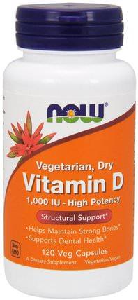 Vitamin D, High Potency, 1.000 IU, 120 Veg Capsules by Now Foods, 維生素,維生素d3,維生素d 2(麥角鈣化醇) HK 香港