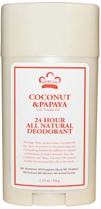 24 Hour All Natural Deodorant, Coconut & Papaya with Vanilla Oil, 2.25 oz (64 g) by Nubian Heritage, 洗澡,美容,除臭劑 HK 香港
