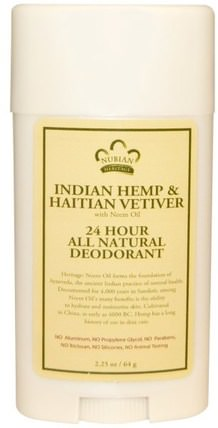 24 Hour All Natural Deodorant, Indian Hemp & Haitian Vetiver with Neem Oil, 2.25 oz (64 g) by Nubian Heritage, 洗澡,美容,除臭劑 HK 香港