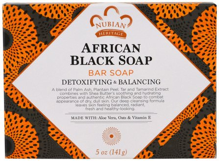 African Black Soap Bar, 5 oz (141 g) by Nubian Heritage, 洗澡,美容,肥皂,黑色肥皂 HK 香港