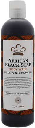Body Wash, African Black Soap, Detoxifying & Balancing, 13 fl oz (384 ml) by Nubian Heritage, 美容,水楊酸,肥皂,黑色肥皂 HK 香港