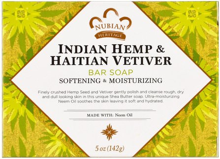 Indian Hemp & Haitian Vetiver Bar Soap, Softening & Moisturizing, 5 oz (141 g) by Nubian Heritage, 洗澡,美容,肥皂 HK 香港