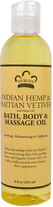 Indian Hemp & Haitian Vetiver, Bath, Body & Massage Oil, 8 fl oz (236 ml) by Nubian Heritage, 健康,皮膚,沐浴,美容油,按摩油 HK 香港