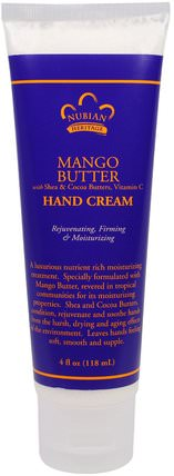 Mango Butter with Shea & Cocoa Butters, Vitamin C, Hand Cream, 4 fl oz (118 ml) by Nubian Heritage, 洗澡,美容,護手霜 HK 香港