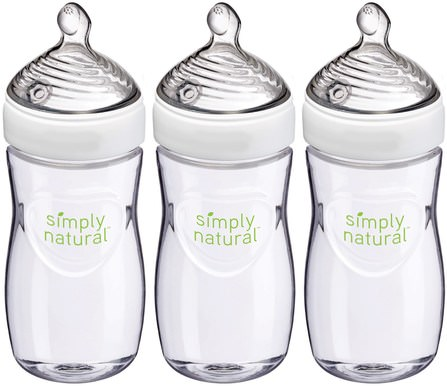 Simply Natural, Bottles, 1+ Months, Medium, 3 Pack, 9 oz (270 ml) Each by NUK, 兒童健康,嬰兒餵養 HK 香港