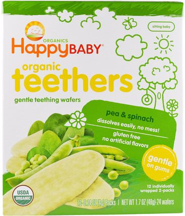 Gentle Teething Wafers, Organic Teethers, Pea & Spinach, 12 Packs, 0.14 oz (4 g) Each by Nurture (Happy Baby), 兒童健康,嬰兒餵養,嬰兒零食和手指食品,出牙餅乾餅乾 HK 香港