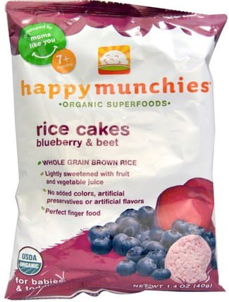 happy munchies, Rice Cakes, Blueberry & Beet, 1.4 oz (40 g) by Nurture (Happy Baby), 兒童健康,嬰兒餵養,嬰兒零食和手指食物 HK 香港