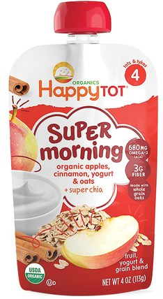 Happy Tot, Stage 4, Super Morning, Fruit, Yogurt & Grain Blend, Organic Apples, Cinnamon, Yogurt & Oats, 4 oz (113 g) by Nurture (Happy Baby), 兒童健康,兒童食品 HK 香港