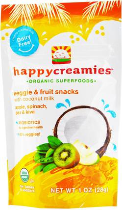 happycreamies, Veggie & Fruit Snacks, Apple, Spinach, Pea & Kiwi, 1 oz (28 g) by Nurture (Happy Baby), 兒童健康,嬰兒餵養,嬰兒零食和手指食物 HK 香港