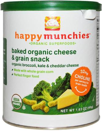 Happymunchies, Baked Organic Cheese & Grain Snack, Organic Broccoli, Kale & Cheddar Cheese, 1.63 oz (46 g) by Nurture (Happy Baby), 兒童健康,嬰兒餵養,嬰兒零食和手指食物 HK 香港
