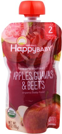 Nurture (Happy Baby), Organic Baby Food, Stage 2, Clearly Crafted, Apples, Guavas, & Beets,, 6+ Months, 4.0 oz (113 g) 兒童健康,嬰兒餵養,食物,兒童食品