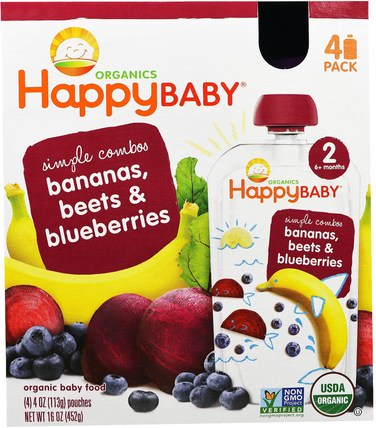 Organic Baby Food, Stage 2, Simple Combos, Bananas, Beets & Blueberries, 4 Pouches - 4 oz (113 g) Each by Nurture (Happy Baby), 兒童健康,兒童食品 HK 香港
