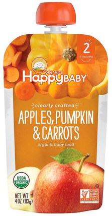Organic Baby Food, Stage 2, Clearly Crafted, Apples, Pumpkin & Carrots, 6+ Months, 4 oz (113 g) by Nurture (Happy Baby), 兒童健康,嬰兒餵養,食物,兒童食品 HK 香港