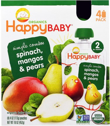 Organic Baby Food, Spinach, Mangos & Pears, 4 Pack - 4 oz (113 g) by Nurture (Happy Baby), 兒童健康,兒童食品 HK 香港
