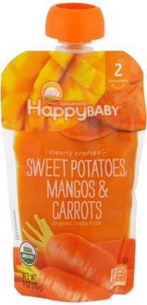 Organic Baby Food, Stage 2, Clearly Crafted, Sweet Potatoes, Mangos & Carrots, 6+ Months, 4 oz (113 g) by Nurture (Happy Baby), 兒童健康,嬰兒餵養,食物 HK 香港