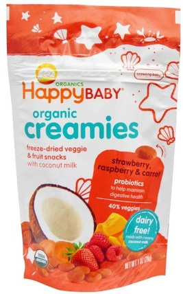 Organic Creamies, Freeze-Dried Veggie & Fruit Snacks, Strawberry, Raspberry & Carrot, 1 oz (28 g) by Nurture (Happy Baby), 兒童健康,嬰兒餵養,嬰兒零食和手指食物 HK 香港