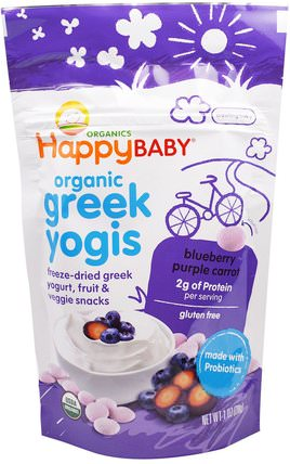 Organic Greek Yogis, Blueberry Purple Carrot, 1 oz (28 g) by Nurture (Happy Baby), 兒童健康,嬰兒餵養,嬰兒零食和手指食物 HK 香港